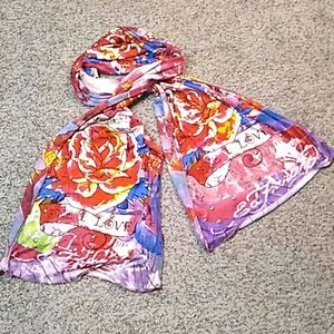 Ed Hardy by Christian Audigier multicolored scarf